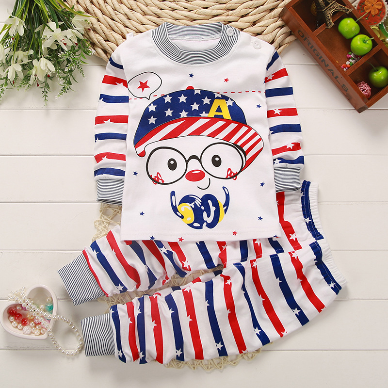 Venda quente roupa interior de algodão Criança terno do bebê roupas de outono roupas de bebê para meninas e meninos pescoço ombro fivela pijama