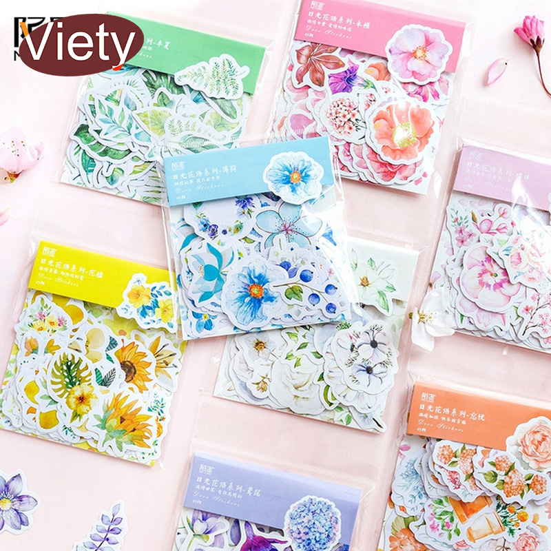 45 Pcs/bag Beautiful Flowers Plants Student Mini Paper Sticker Bag DIY Diary Planner Decoration Sticker Album Scrapbooking