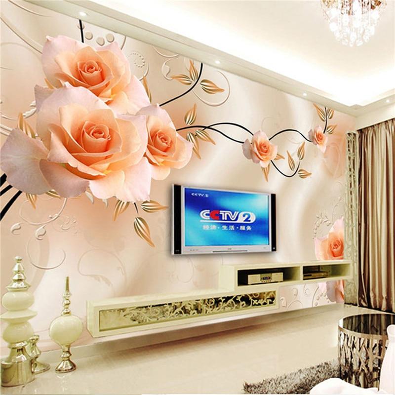 Custom Photo Wallpaper Modern 3D Relief Roses Flower Wall Paper Mural Art Living Room Sofa TV Background Home Decor Wallpaper