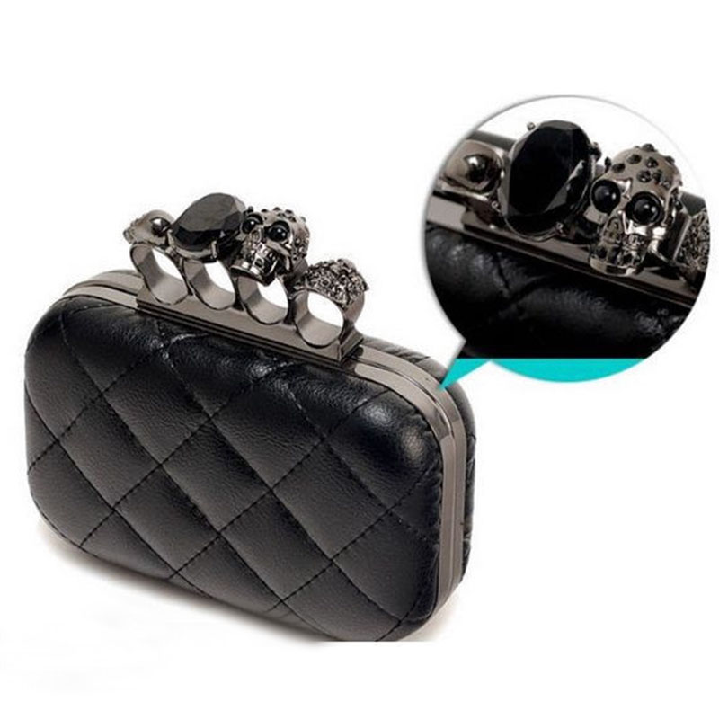 Free shipping vintage Skull purse Black Knuckle Ring Handbag Women Skull Clutch Evening Bag With shoulder Chain bolsas femininas baum lyman frank the master key