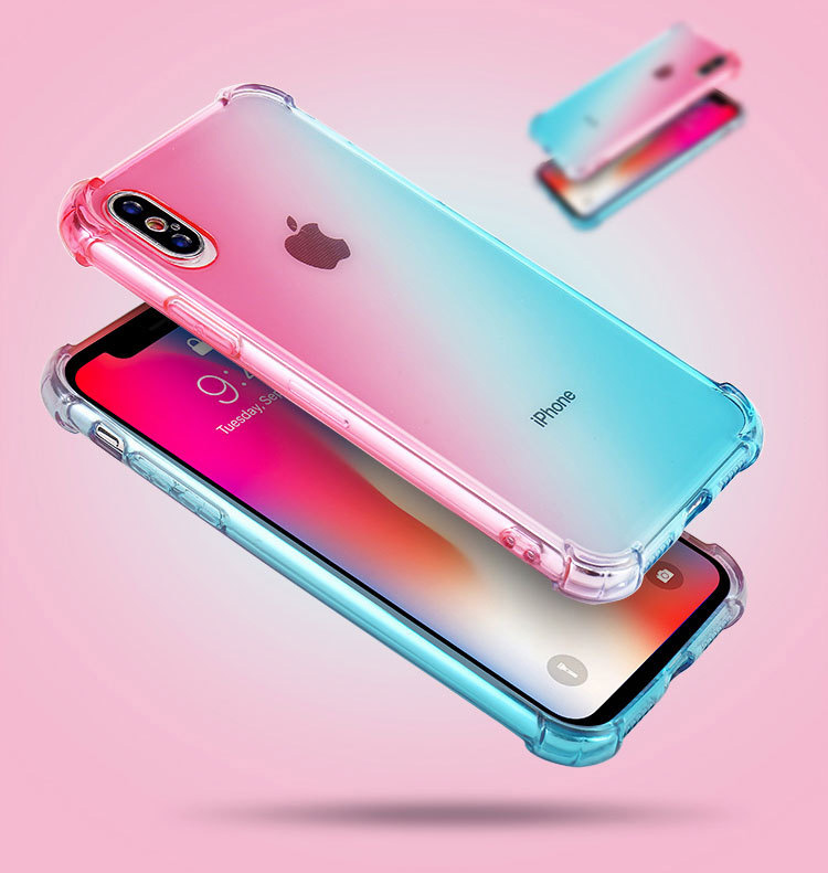 Wholesale 20pcs lot Gradient rainbow shockproof silicone case for Iphone X XS max Iphone xr cases phone cover soft back covers in Fitted Cases from Cellphones Telecommunications