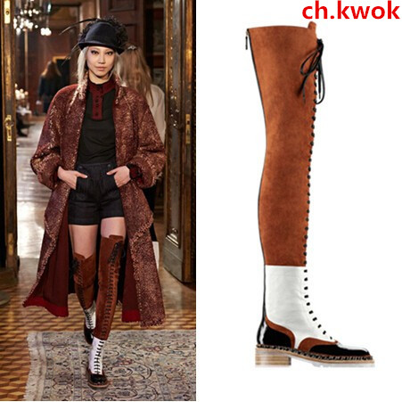 CH.KWOK Women Runway Long Boot Fall Women's Lace Up Thigh High Boots Brown Black White Low Heel Boots Plus Size 42 Women Booties