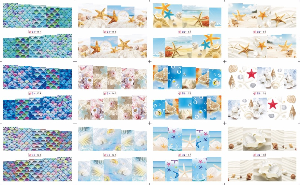 On sale !!    1 lot =50sheets 12 in one sheet  New Style Nail Art Water Sticker Small beach products  in 2016 for  BN157-168