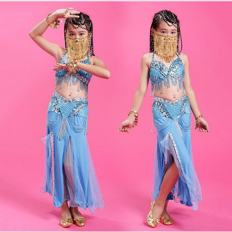 Enfants danse du ventre scène Performance Costumes robe danse indienne pratique Costumes 2 pièces Set Top + ceinture