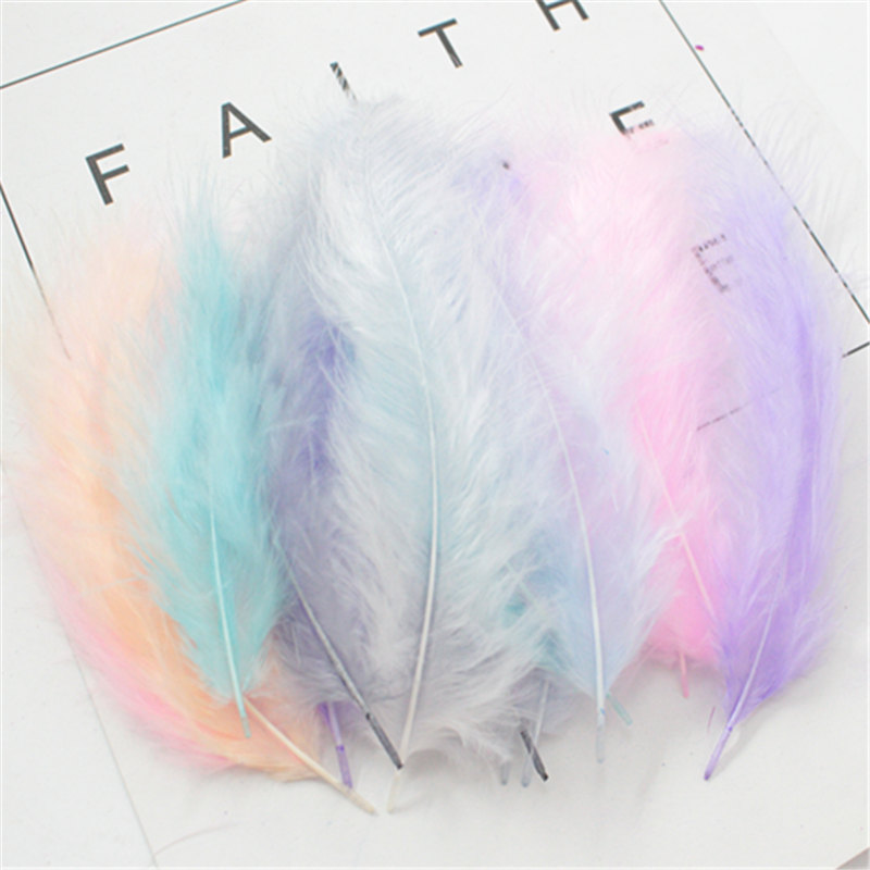 50 PCS 4-6 Inches 10-15CM Turkey Marabou Feathers Fluffy Wedding Dress DIY Jewelry Decoration decorative Accessories Feathers image