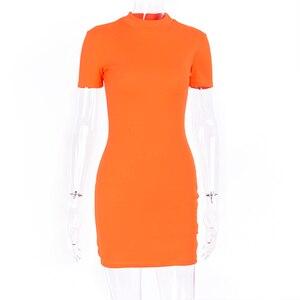 Image 5 - Hugcitar リブニットネオングリーン orange 半袖 tシャツボディコンミニドレス 2019 夏の女性のストリートパーティー服