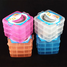 1PC 3 Layer Square Clear Plastic Jewelry Storage Boxes Beads Crafts Case Containers JF 0673