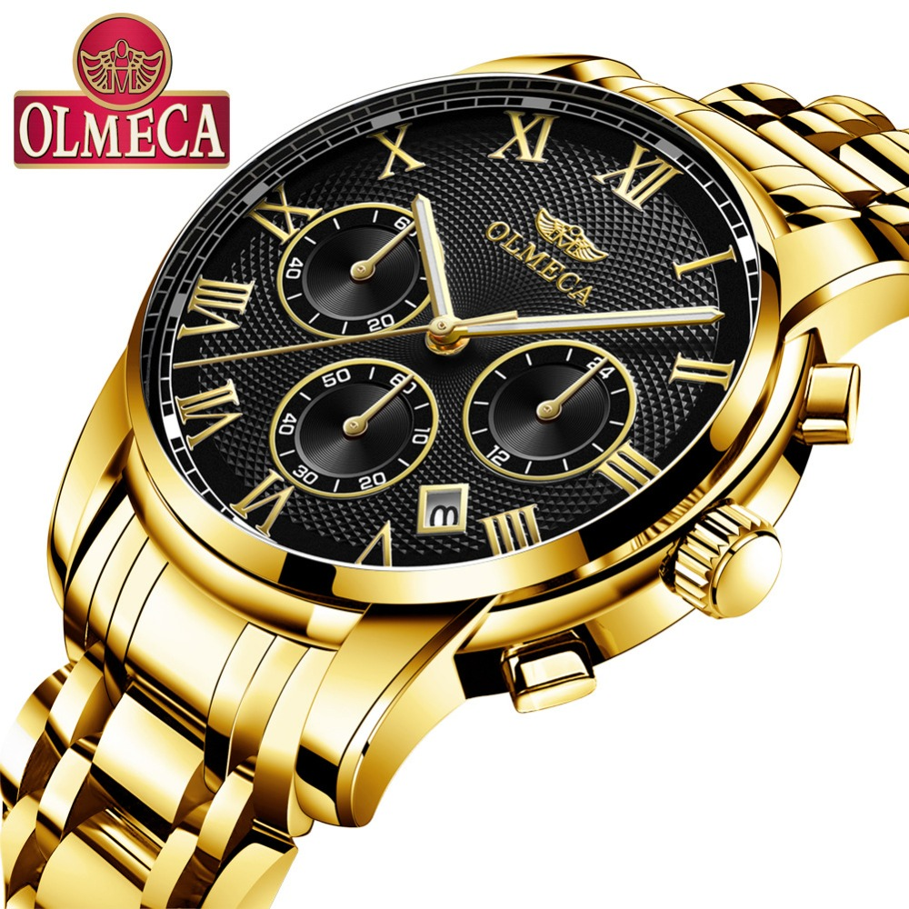 OLMECA Mens Watch Luxury Brand Chronograph Men Business Watch Waterproof Stainless Steel Quartz Watches Relogio Masculino майка борцовка print bar columbus blue jackets