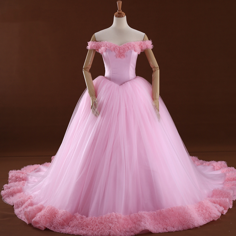 Gorgeous Real Picture Pink Off the Shoulder Flowers Decorated Rose Tulle Princess Ball Gown Wedding Dress Wedding Party ASAW49