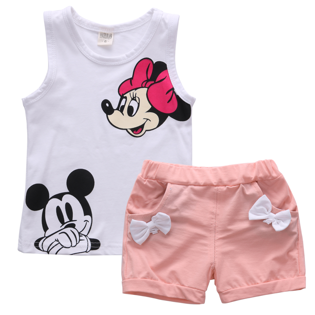 Helen115 Lovely Kids Baby Girls Summer Cartoon Printed Sleeveless T-shirt+Shorts 2PCS Set 1-5Years