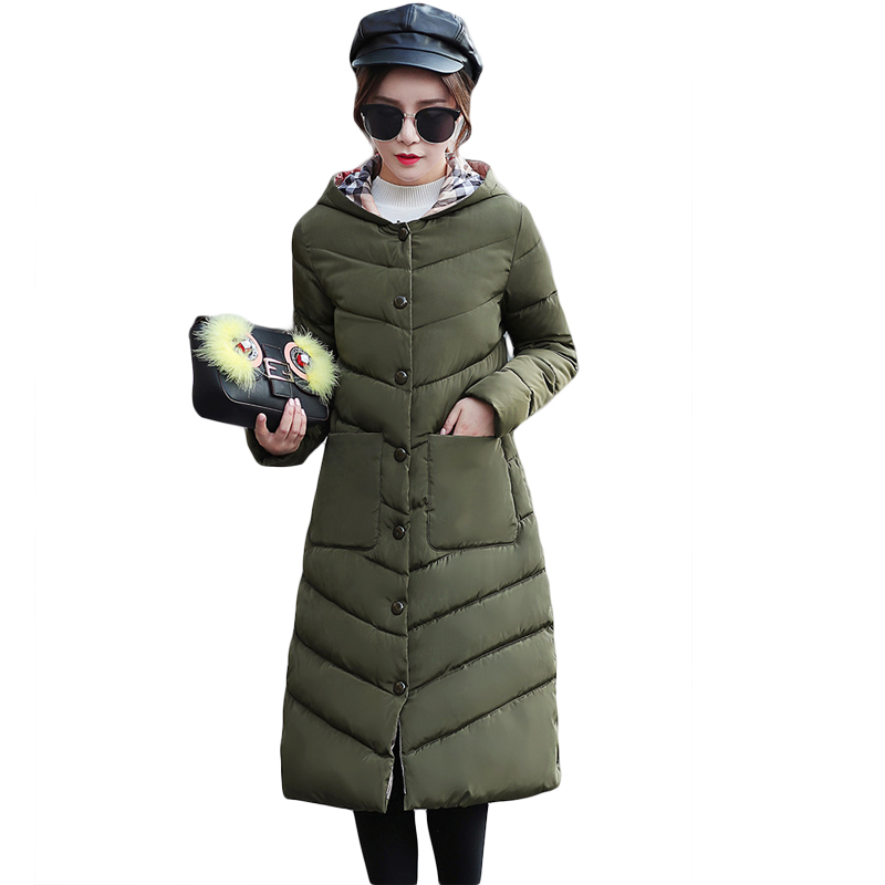 2017 Female Elegant Long Slim Cotton-padded Coat Women Solid Color Winter Warm Parkas Ladies Jacket Plus Size 3XL Outwear CM1699 winter women jacket 2017 new women hooded warm medium long cotton padded coat solid color slim female parkas 3 colors
