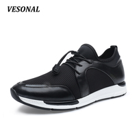 VESONAL 2017 Breathable Mesh Genuine Leather Lycra Patchwork Mens Shoes Casual Wedge Men Shoes Outdoor Walking Black SD7081