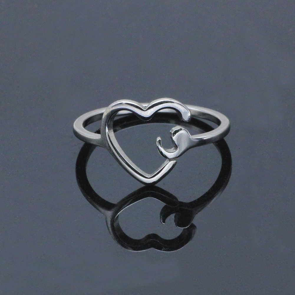 Anillo de punto y coma para niña anillo ajustable anillo de la salud Mental joyería inspiradora Acero inoxidable estudiante de Graduación