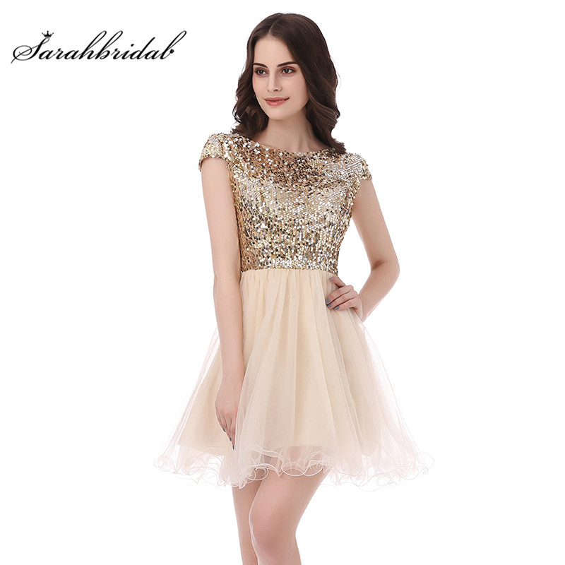 Sexy Sparkle   Cocktail     Dresses   with A Line Party Mini Skirt Short Sleeve Backless Jewel Tulle Sequins Prom Gowns In Stock SD396