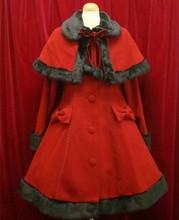 Christmas Hallowmas Girls Lovely Lolita Wool Coat Gothic Princess Single-breasted Cape Long Coat