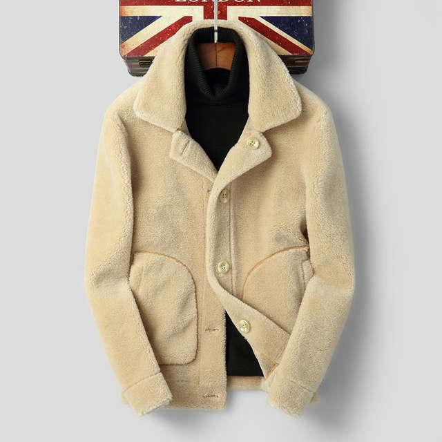 US $194.58 50% OFF|AYUNSUE Sheep Shearling Fur Coat Winter Jacket Men 100%Wool Coat Suede Lining Double side Wear Jackets F DH 80810 MY1159 in Genuine