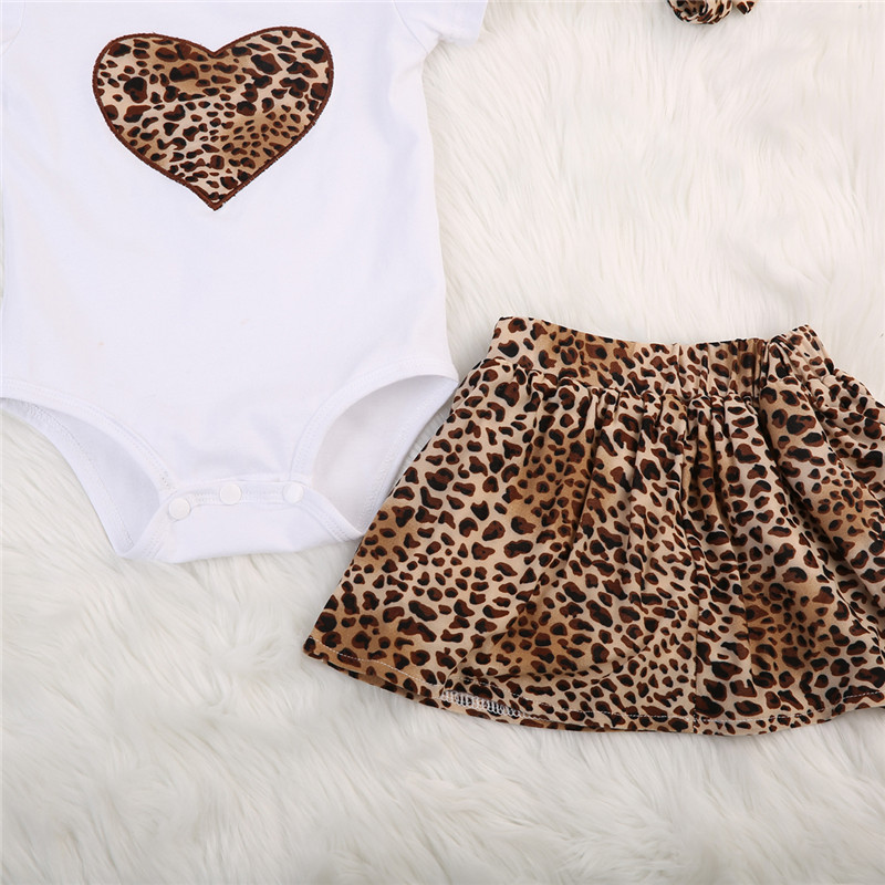 Leopard Newborn Baby Girl Bodysuits Summer Clothes Set Short Sleeve Top+Skirt 2PCS Outfit Soft Cotton Toddler Kids Clothing