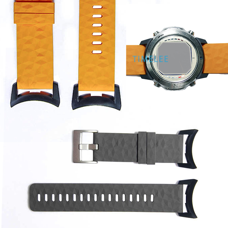 For Suunto D6 D6i  Dive Computer  Watch Soft Silicone Strap Kit Watchbands+ PC Adapters