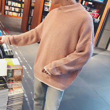 Preppy Style Sweaters Men Solid Color Round Neck Loose Pullover Men's Sweater 2018 Winter Oversized Sweater Man 3Colors