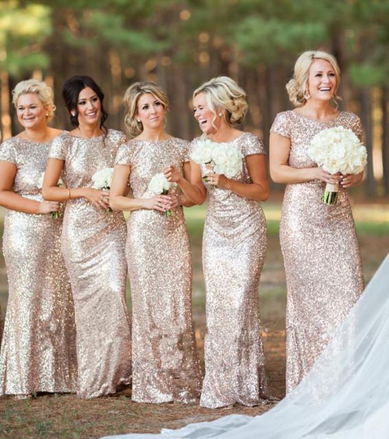 Ouro Champagne Longo vestido longo Lantejoulas Manga Curta Até O Chão Vestido de Dama de honra 2015 Vestido de Baile Vestido de Festa de Casamento