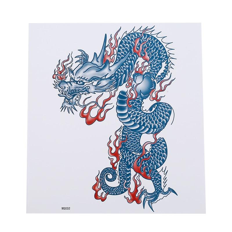 Blue Dragon Tattoo Sticker Durable Chest Antiperspirant Waterproof Men Cool Trend Full Arm