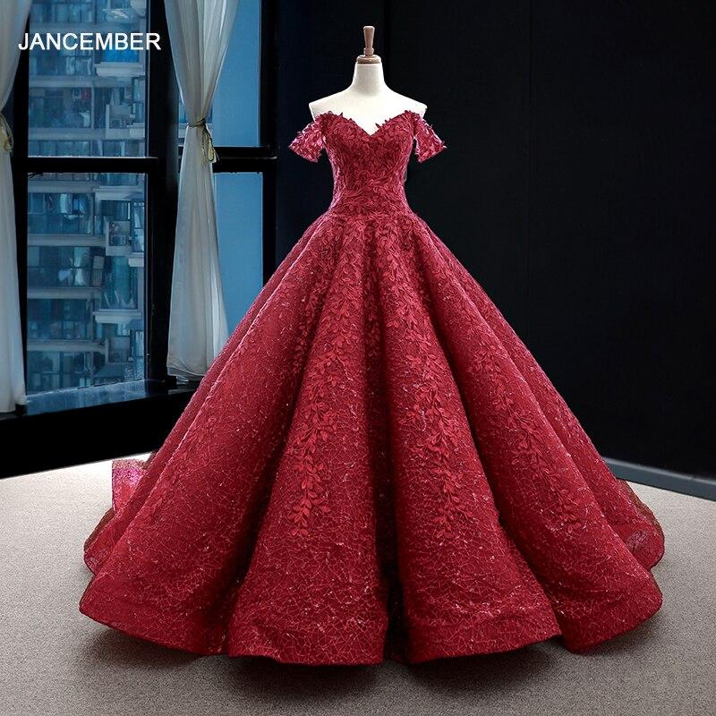 J66601 jancember robe formelle femmes élégantes robes de bal à lacets dos appliques longueur de plancher robe de bal avec train nouveau design 2019