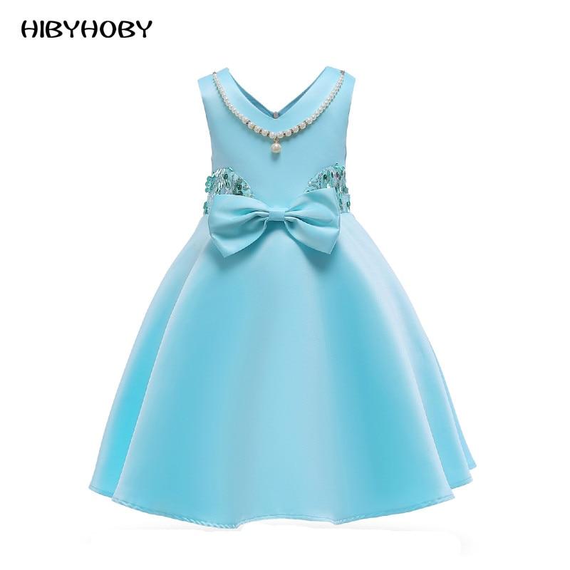 Hibyhoby 2018 nieuwe Boog Baljurk Mouwloze Pailletten jurk Meisjes - Kinderkleding - Foto 1