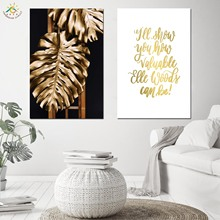 Tropical Metal Gold Leaf Wall Art Canvas Painting Posters And Prints Pop Art Picture Scroll Painting Nordic Decoration
