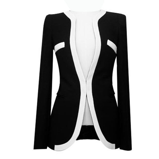SETWIGG 2017 Spring OL Blazer Collarless Patchwork Business Women Slim Blazer Jacket Coat