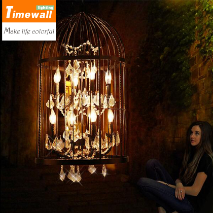 American retro IRON CHANDELIER crystal cage staircase clothing store restaurant bar villa industrial Chandelier