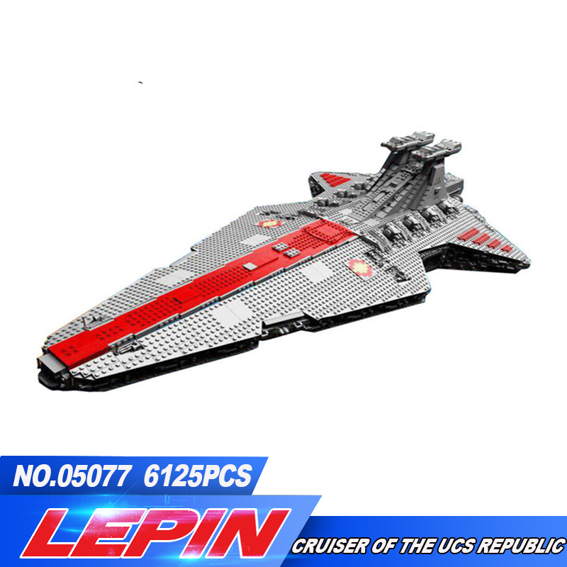 Lepin 05077 6125Pcs Series The UCS Rupblic Star Destroyer Cruiser ST04 Set Building Blocks Bricks toys for children compatible lepin 05077 star series war genuine the ucs rupblic star set destroyer cruiser st04 set building blocks bricks for boy gift toy