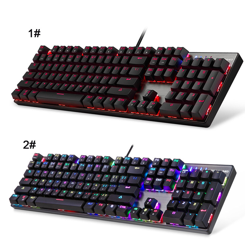 New English Russian USB Wired Mechanical Keyboard 104 Keys LED RGB Backlight Gaming Keyboards for Computer EM88