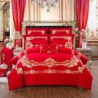 100% cotton Duvet Cover Set Golden embroidery Bedding Set Bedsheet Pillowcase red Bed Quilt Bedlinen Bedclothes