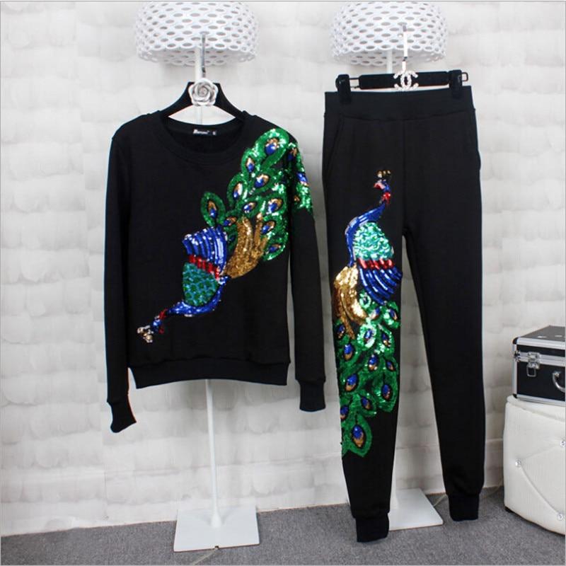 Autumn Winter Suits Sports Warm Peacock Sequined Spring Autumn Thicken Suit Women Sport Fashion 2 Piece Set Women Wt1389