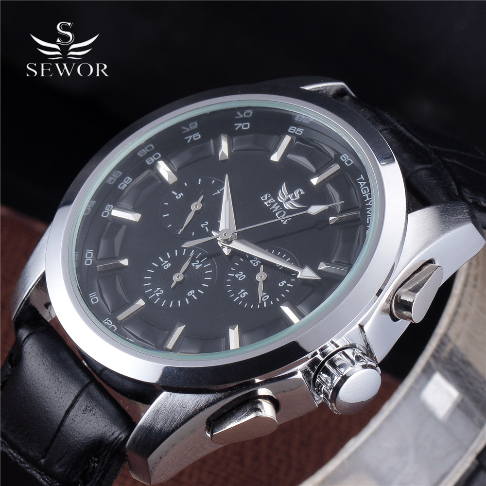 SEWOR Top Brand Classic Brown Leather Strap Date Day Display Montre Homme Male Auto Calendar Mechanical Watch Automatic Watches автосигнализация без автозапуска starline a63