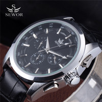2016 Fashion Brand SEWOR Automatic Mechanical Self Wind Steel Case Calendar Week 24 Hour Dial Real