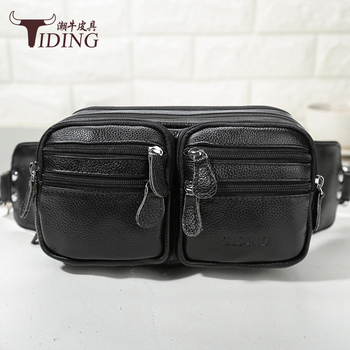 Black Chest Bag Cow Leather For Men 2018Man Business Leather Waist Bag Super Quality Fashion  Waist Leg Chest Bags