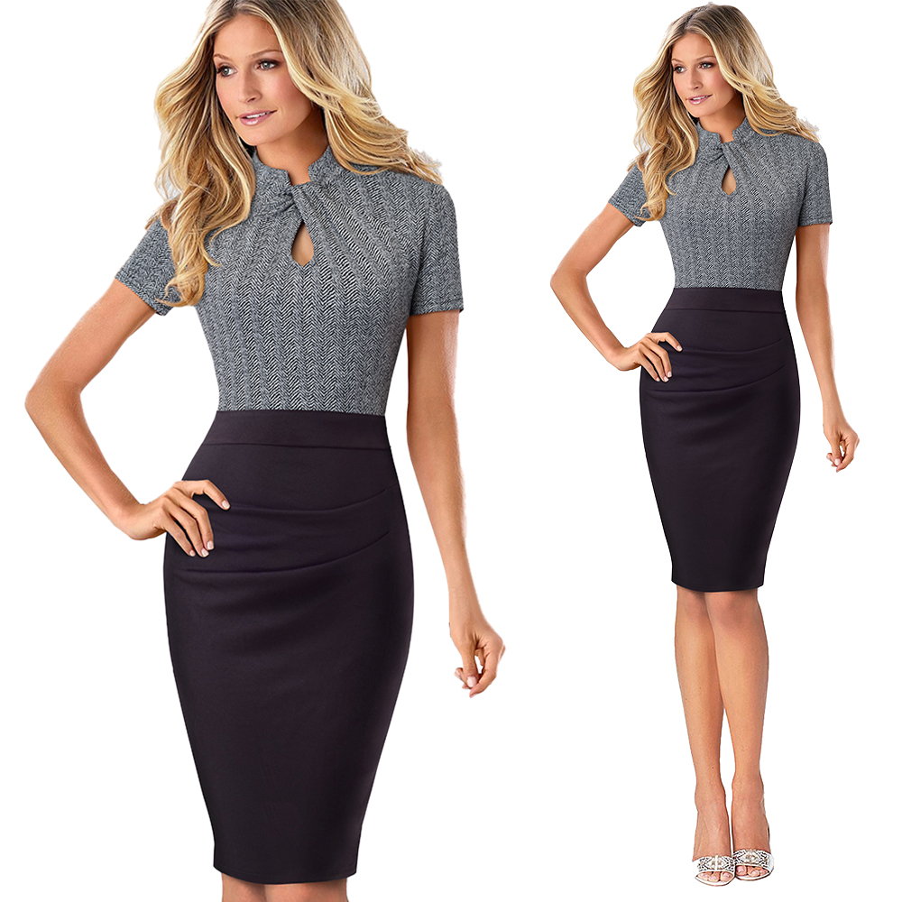 Elegant Work Office Business Drapped Contrasting Bodycon Slim Pencil Lady Dress Women Sexy Front Key Hole Summer Dress EB430 23
