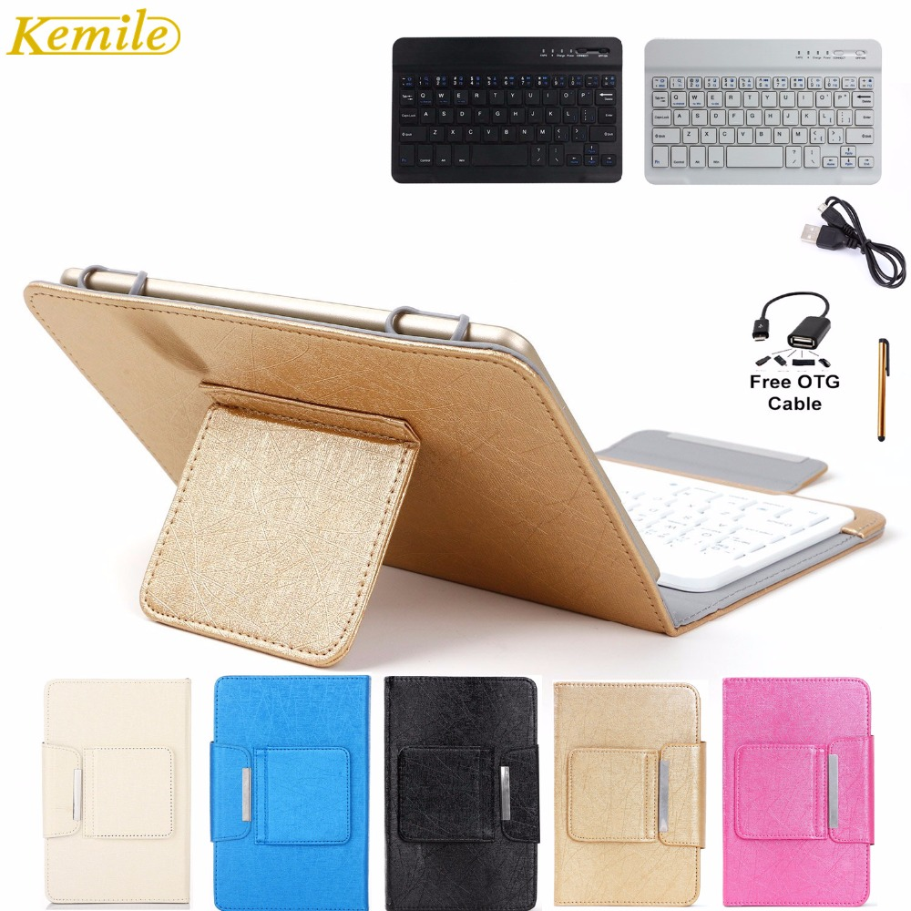 Kemile Portable Leather Case Cover Stand+Wireless Bluetooth Keyboard For 7-8 Inch IOS, Android and Windows Tablet keypad klavye universal 7 7 9 8 inch android windows ios tablet pc detachable bluetooth keyboard with touchpad pu leather case cover stand pen