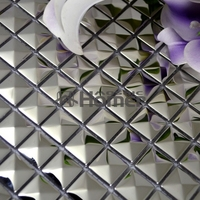 20x20mm silver stainless steel metal mosaic tile small pyramid design metal mosaic for wall tiles HME8045