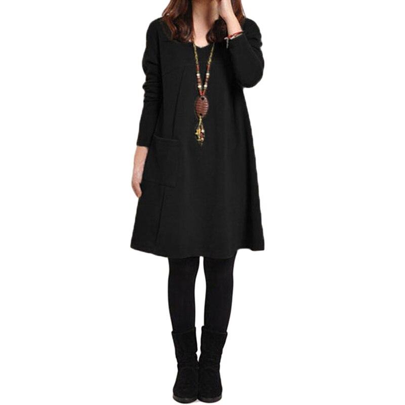 HTB1wiF.QpXXXXX1XFXXq6xXFXXXm - 2018 Autumn Dress Women Winter Long Sleeve Pocket Dress Solid O Neck Casual Loose Party Dresses Fashion Vestidos Plus Size S-5XL