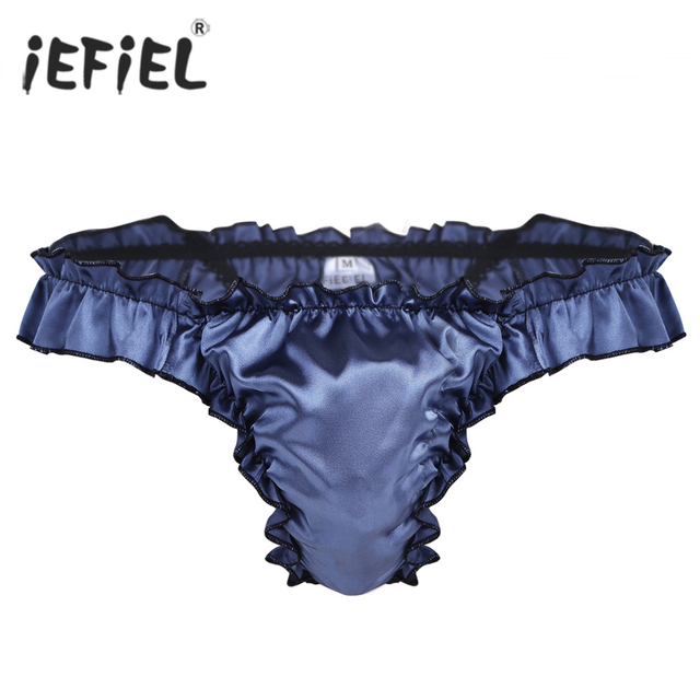 9e27ec1219 IEFiEL Herren Dessous Glänzenden Kräuselte Rüschen Sissy Höschen Glatte  Touch Bulge Pouch Bikini-Slip Jockstraps