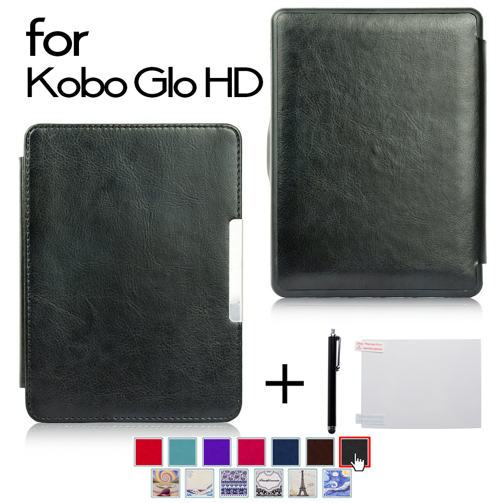 Cover case for Kobo Glo HD/Glo/Touch 2.0 e-book ereader+Screen protector film+Stylus pen