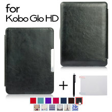 Cover case for Kobo Glo HD/Glo/Touch 2.0 e-book ereader+Screen protector film+Stylus pen(China)