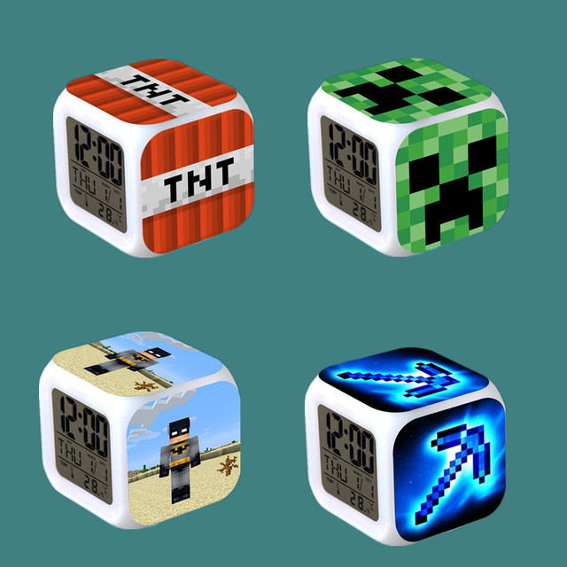 Kids Alarm Clock LED cartoon game Minecraft action toy figures Night ...