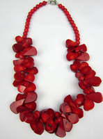 Hot Sale Free Shipping Fashion Huge Handmade Multi Red Real Coral Beads Necklace Jewelry