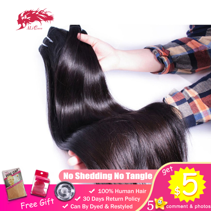 Bundle Weave Mink-Hair Ali-Queen Virgin Human One-Donor Natural-Color Straight Brazilian