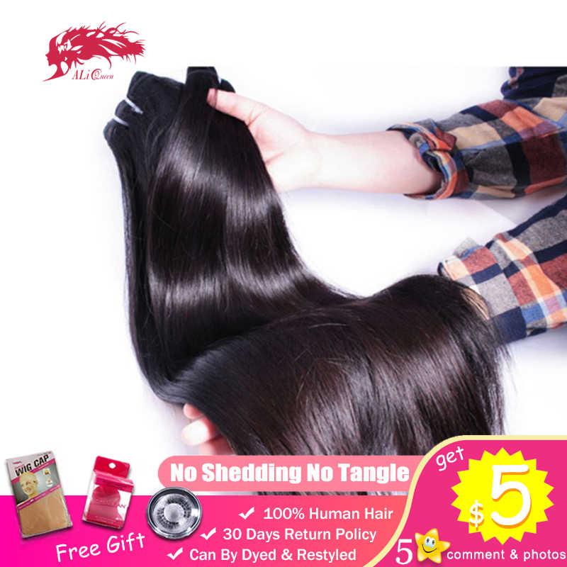 Ali queen прямые бразильские необработанные девственные волосы для молодых девушек, человеческие волосы из норки, плетение, пучок, От 2 до 3 лет, натуральный цвет