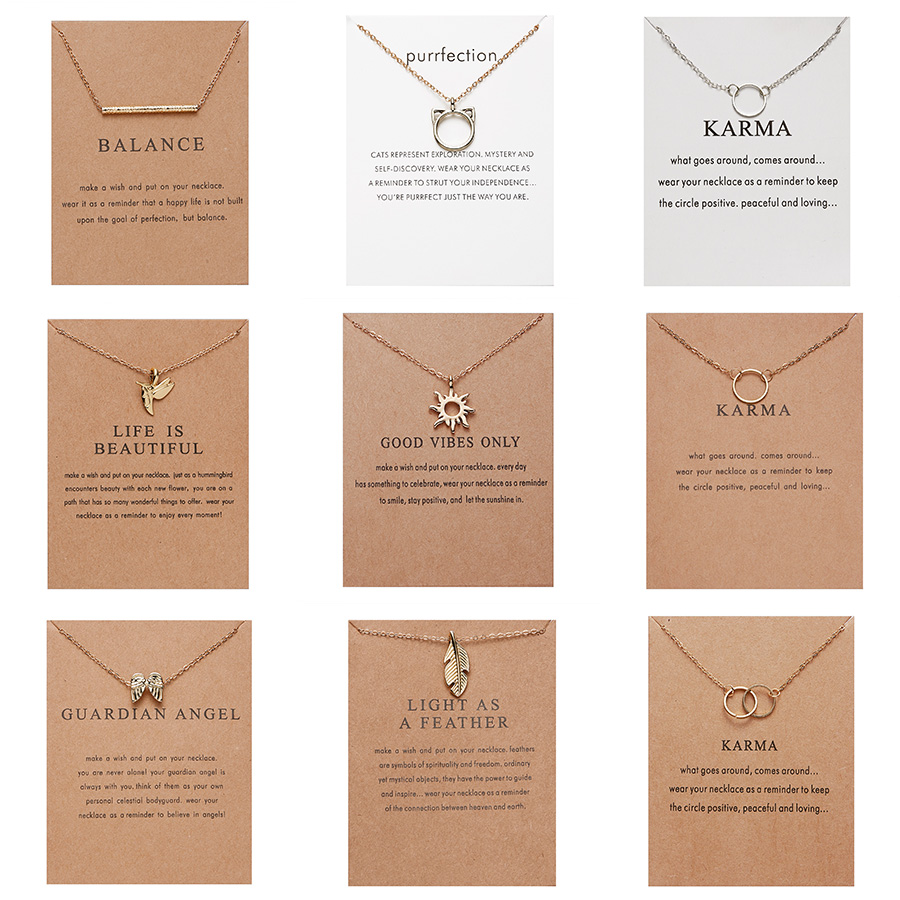10 Styles Fashion Jewelry Women Pendant Necklace Cat Ear Angel Wings Bird Animal Circle Geometric Charm Clavicle Chains Collar(China)