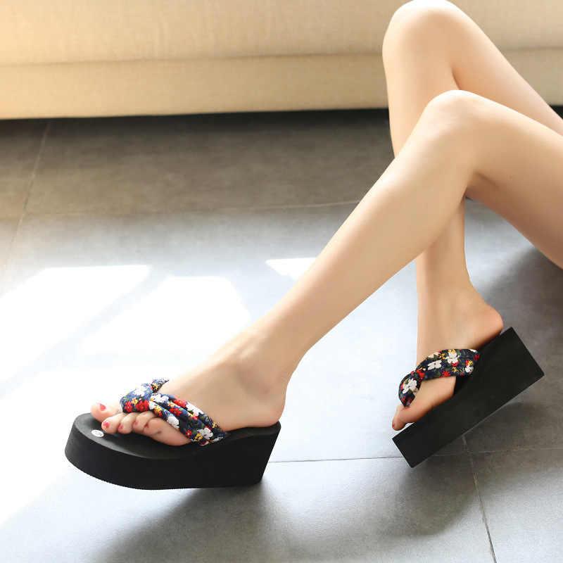 KNCOKAR Yaz Moda Eğlence kadın Terlik Kaymaz Kama Sandalet Platformu Platformu Ve Plaj Flip-Flop